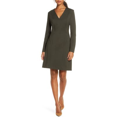 Forest Lily Ponte Knit Long Sleeve Sheath Dress, Green
