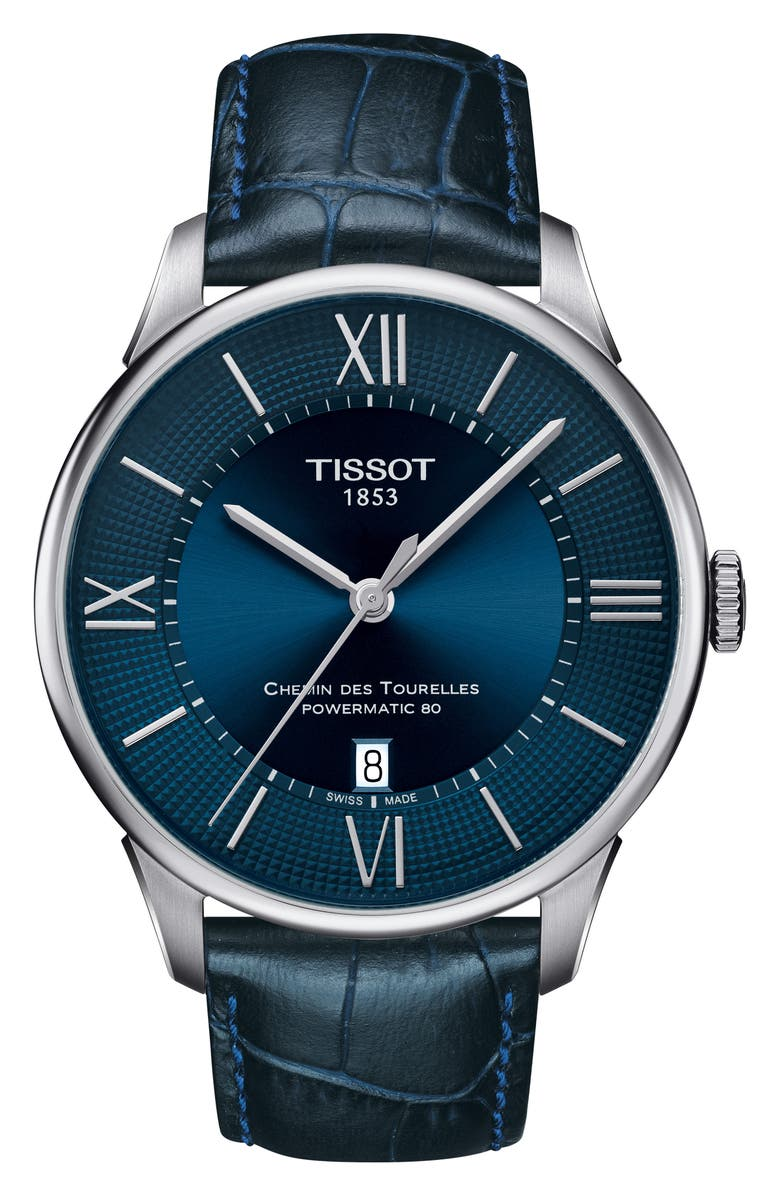 TISSOT Chemin Des Tourellles Automatic Leather Strap Watch, 42mm, Main, color, BLUE/ SILVER