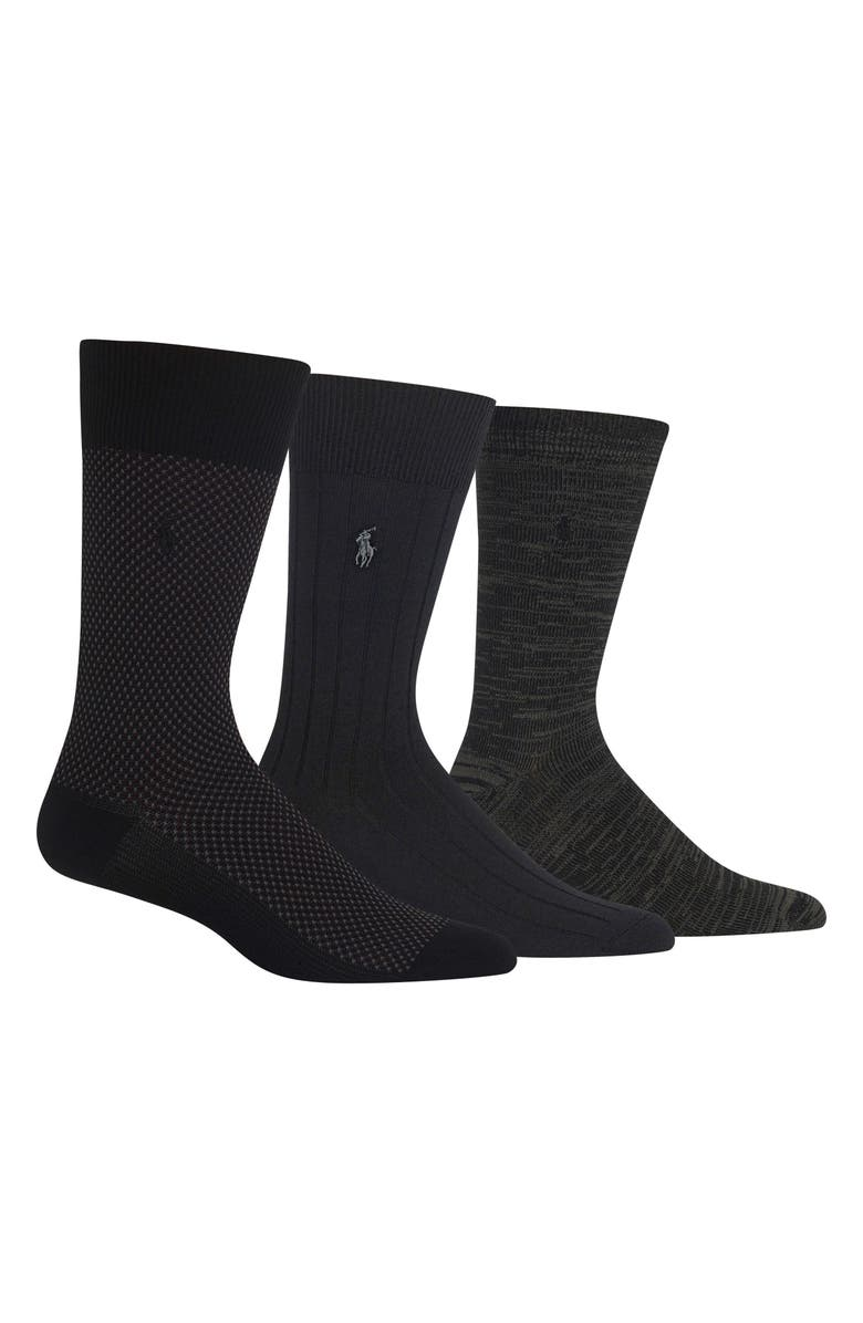 POLO RALPH LAUREN Assorted 3-Pack Bird's Eye Socks, Main, color, BLACK