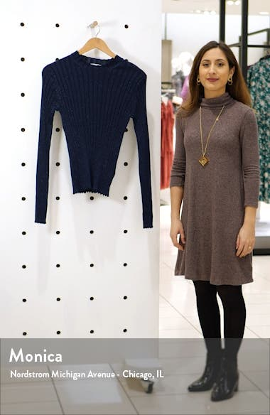 Metallic Thread Ribbed Mock Neck Wool Blend Sweater, sales video thumbnail