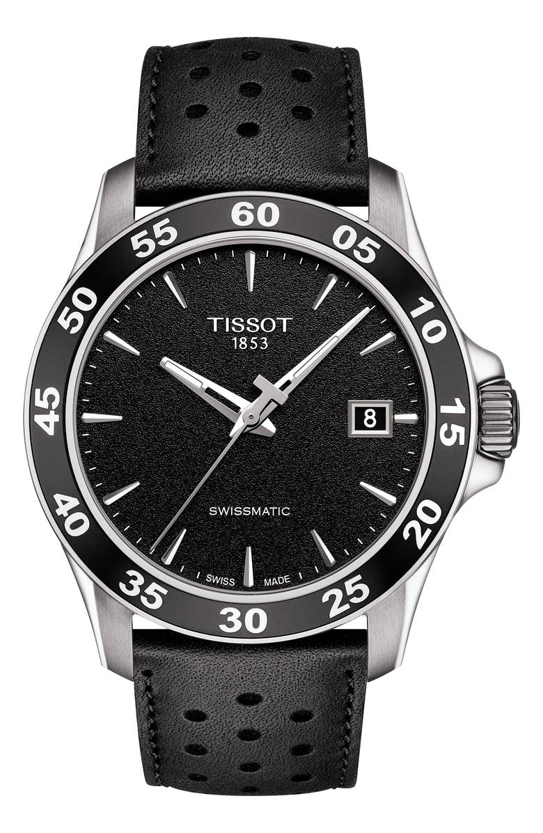 Tissot V8 Swissmatic Perforated Leather Strap Watch 42mm Nordstrom