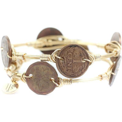 Bourbon And Boweties Wire Wrapped Coin Bangle Set