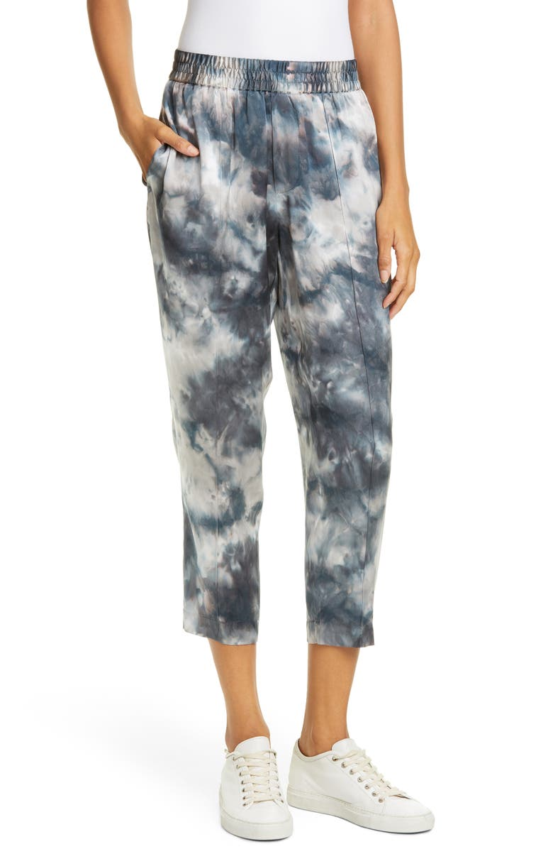 ATM ANTHONY THOMAS MELILLO Tie Dye Silk Charmeuse Crop Pants, Main, color, TEAL COMBO