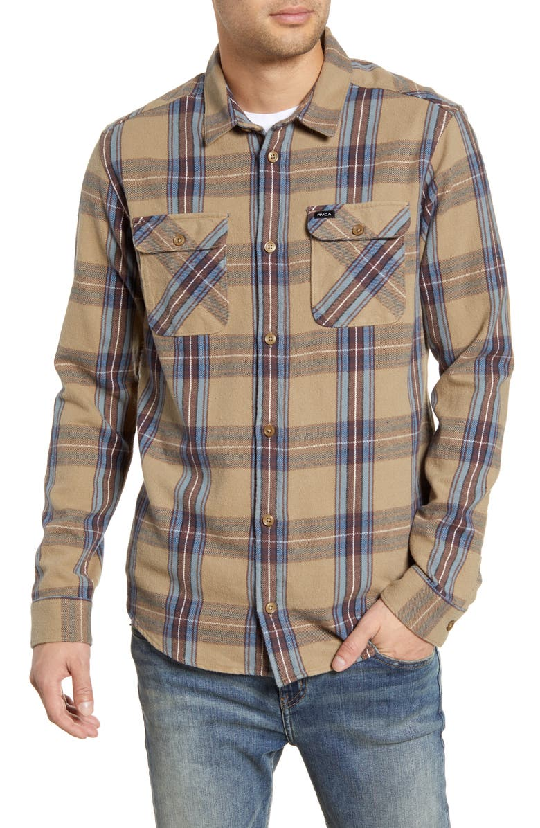 RVCA Reverberation Plaid Button-Up Flannel Shirt, Main, color, WOOD