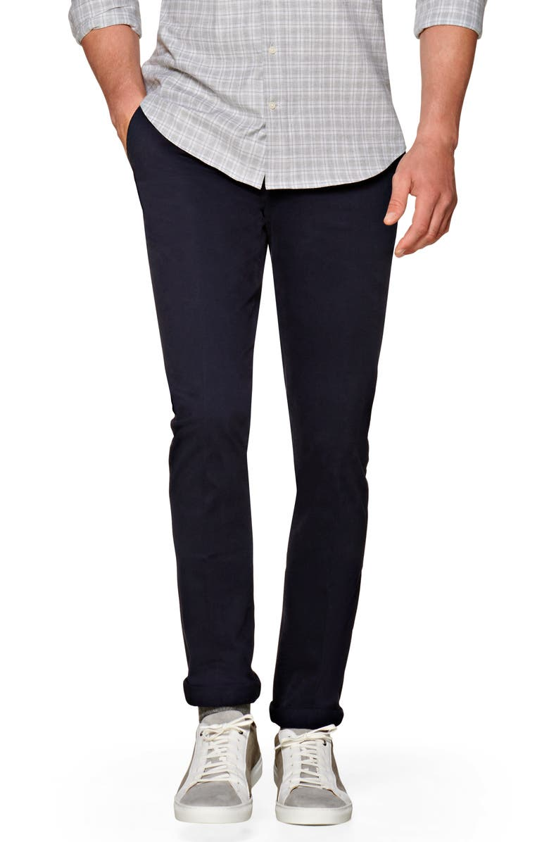SUITSUPPLY Porto Skinny Fit Stretch Cotton Chinos, Main, color, NAVY