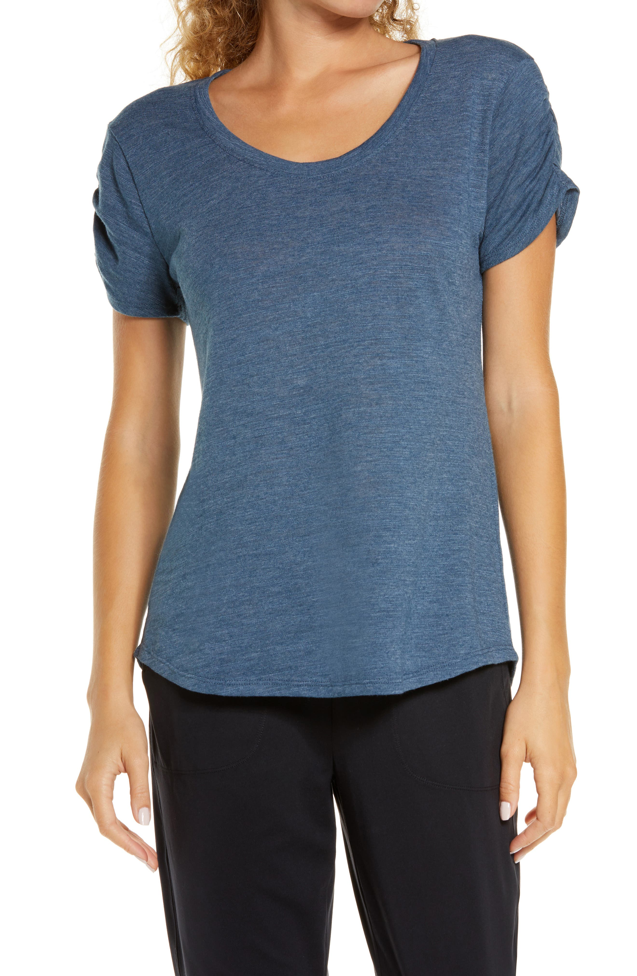 A scoop neck and high/low hem keep the vibe of this ultra-lightweight T-shirt comfortable and easygoing. Style Name: Zella Tulip Slub T-Shirt. Style Number: 6044178. Available in stores.