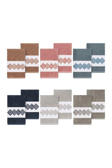 Image of LINUM HOME Noah Embellished Hand Towel - Set of 2 - Teal