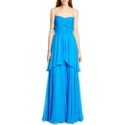 Amur Kiko Tiered Silk Maxi Dress, Blue