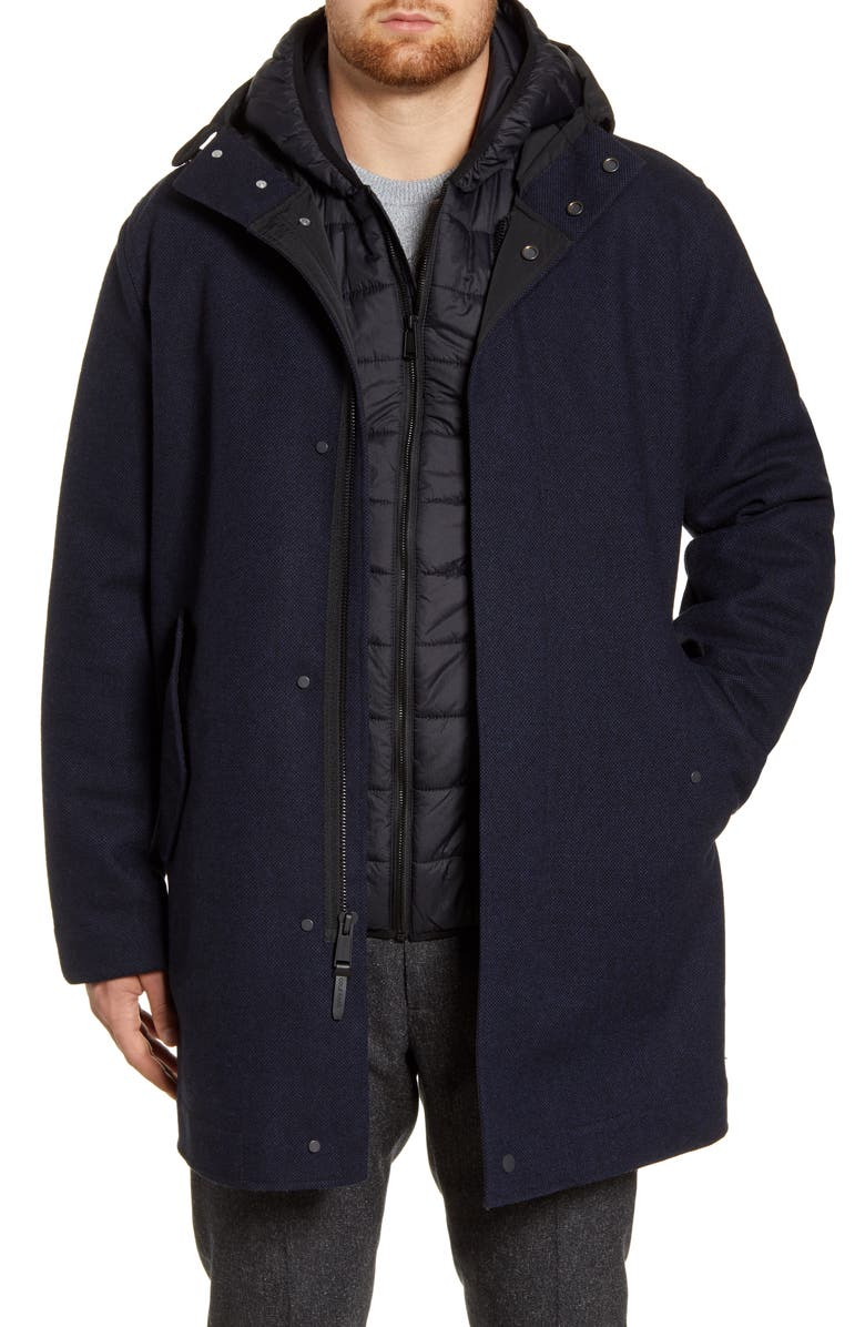 COLE HAAN 3-in-1 Insulated Bonded Tweed Parka, Main, color, NAVY
