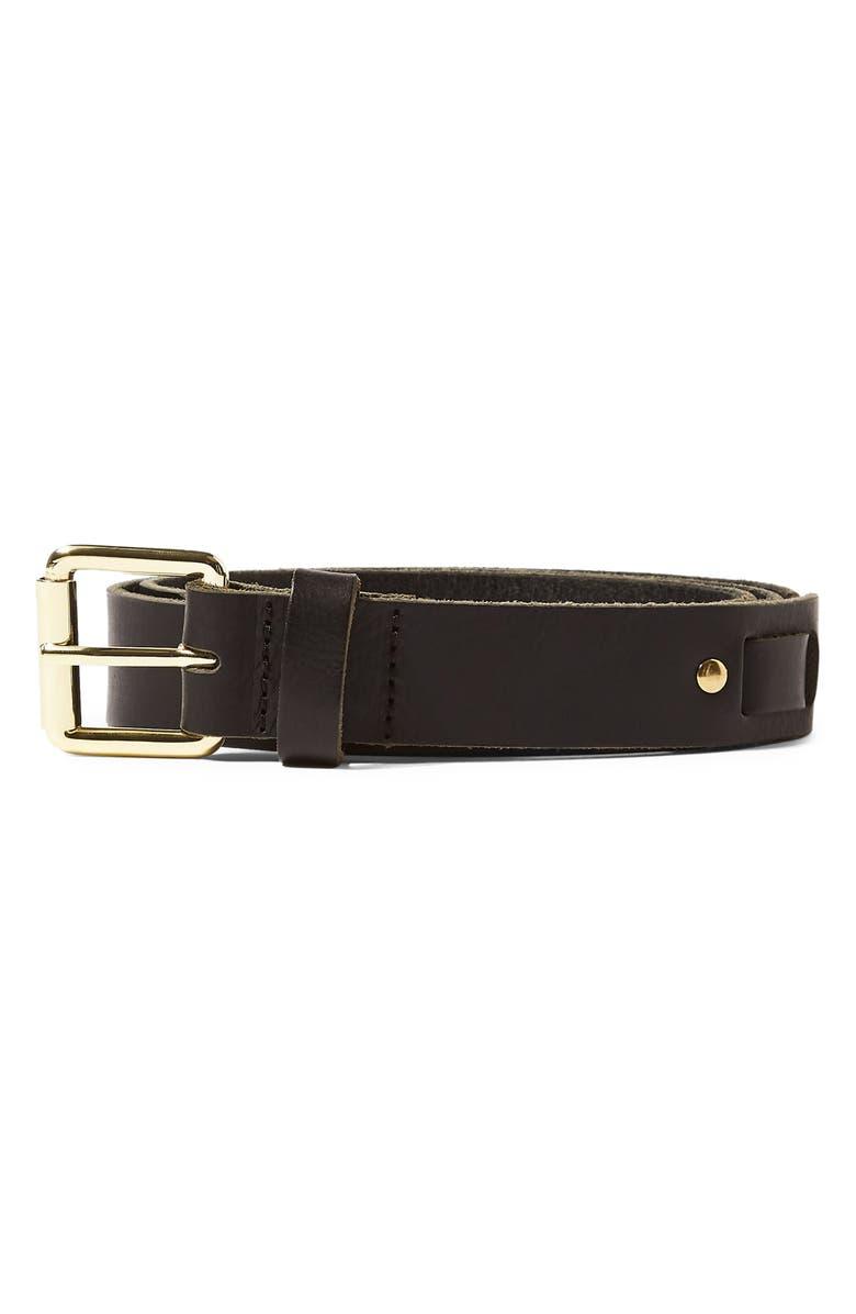 TOPMAN Leather Section Belt, Main, color, 001