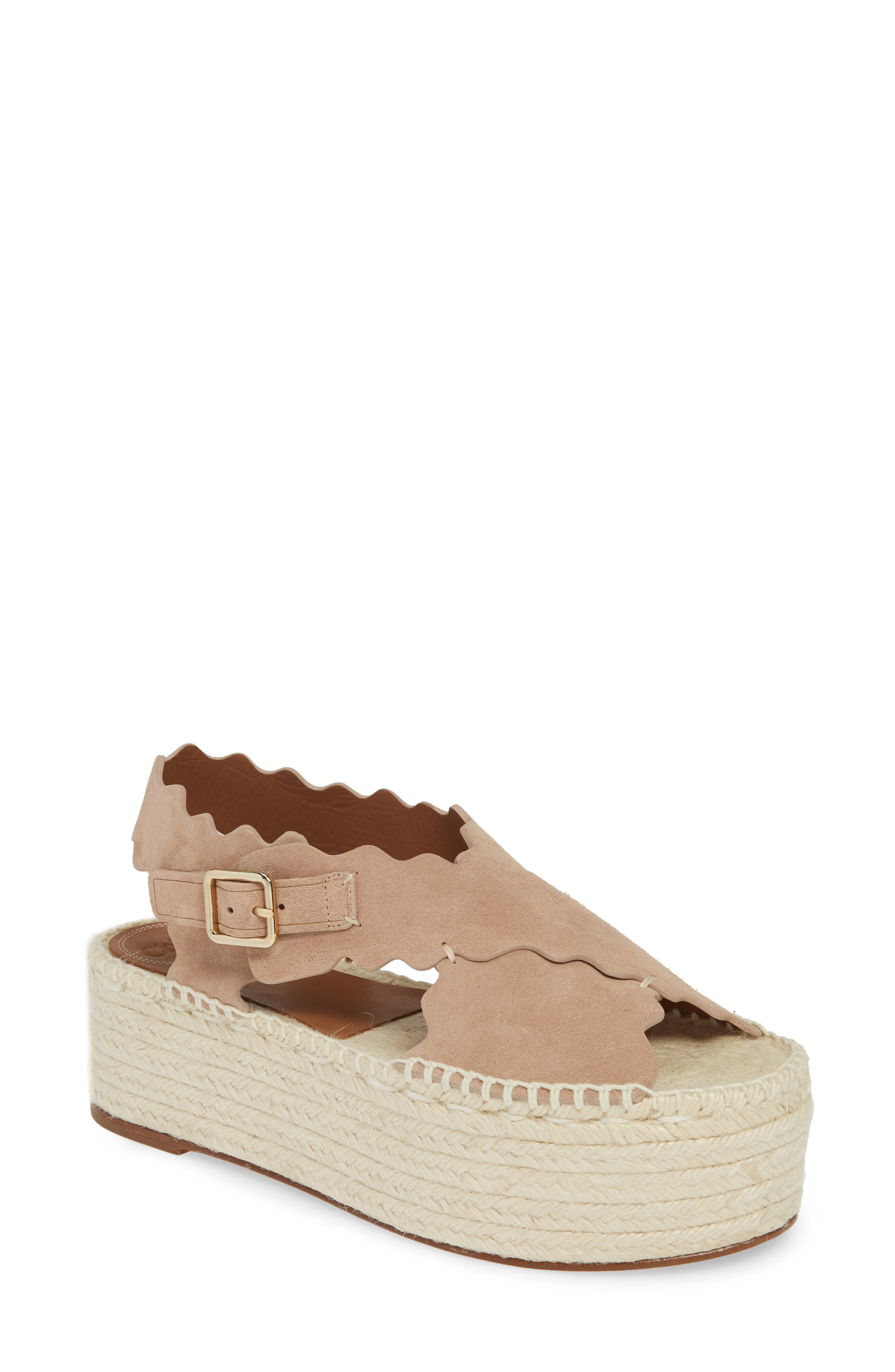 Chloé Lauren Scalloped Flatform Sandal (Women)