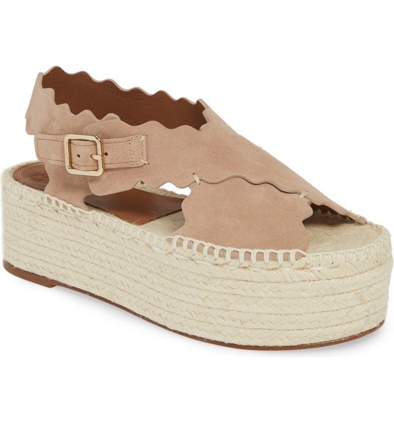 CHLOÉ Lauren Scalloped Flatform Sandal, Main, color, MAPLE PINK