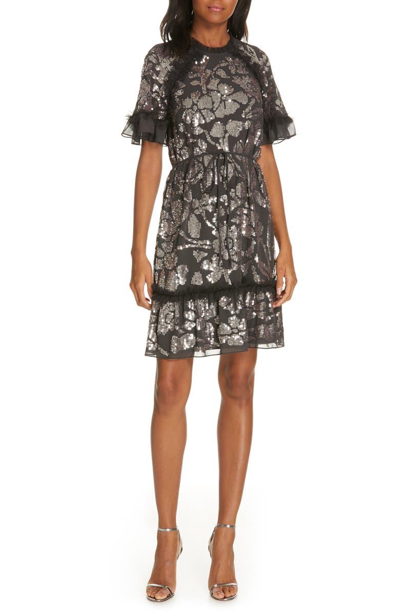 NEEDLE & THREAD Floral Gloss Dress, Main, color, 001