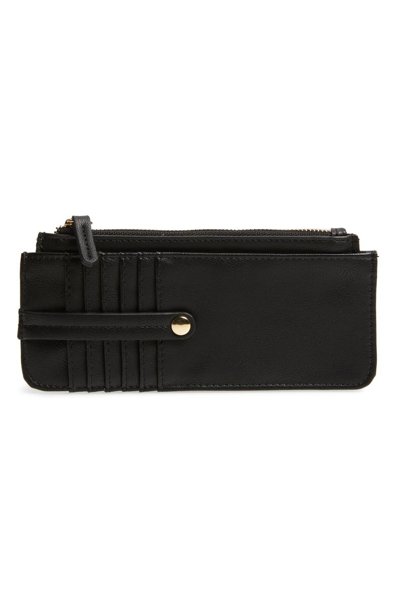 SOLE SOCIETY TZ Faux Leather Card Case, Main, color, BLACK