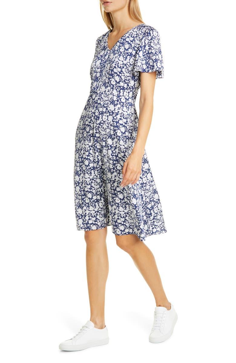 NORDSTROM SIGNATURE Flutter Sleeve Stretch Silk Dress, Main, color, NAVY ZOE FLORAL