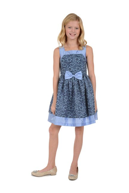 Image of Badgley Mischka Blue Lace Skater Dress with Bow