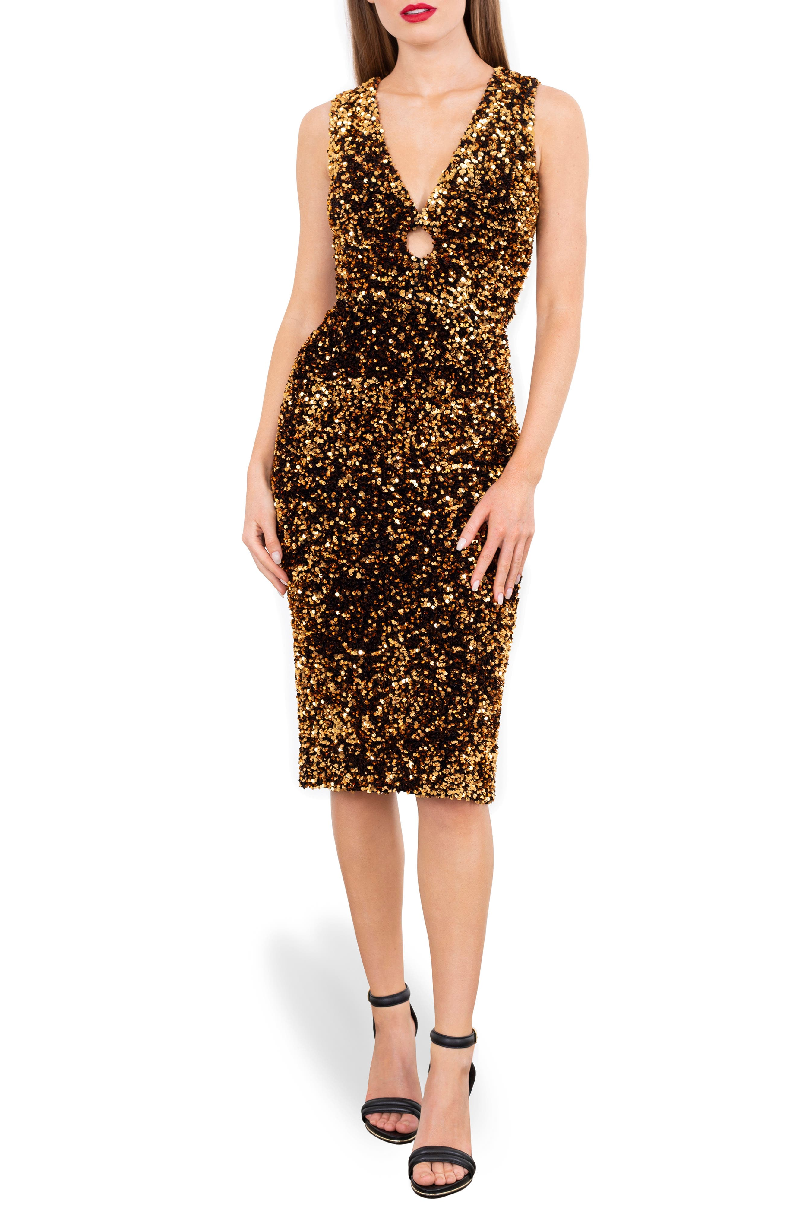 Alex Sequin Keyhole Sleeveless Dress