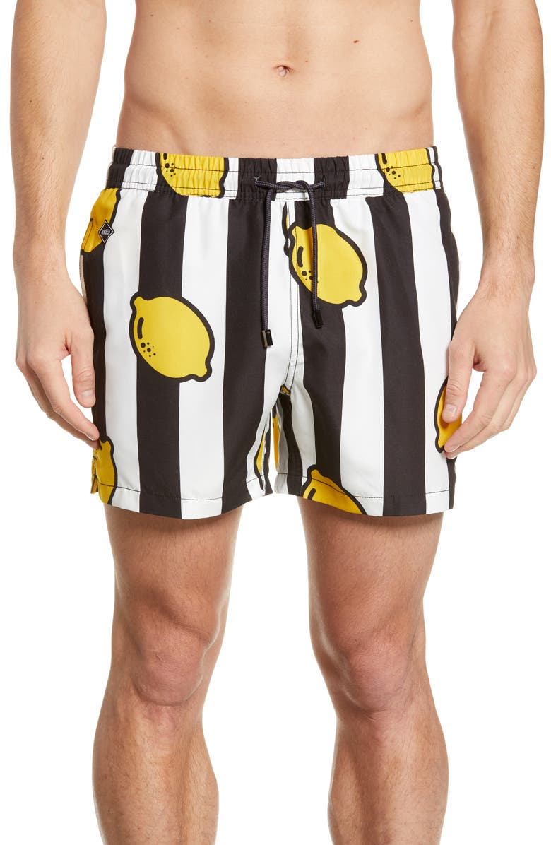 NIKBEN Limoncello Swim Trunks, Main, color, BLACK/WHITE