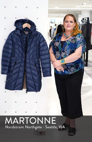 Glossy Quilted Walker Coat, sales video thumbnail
