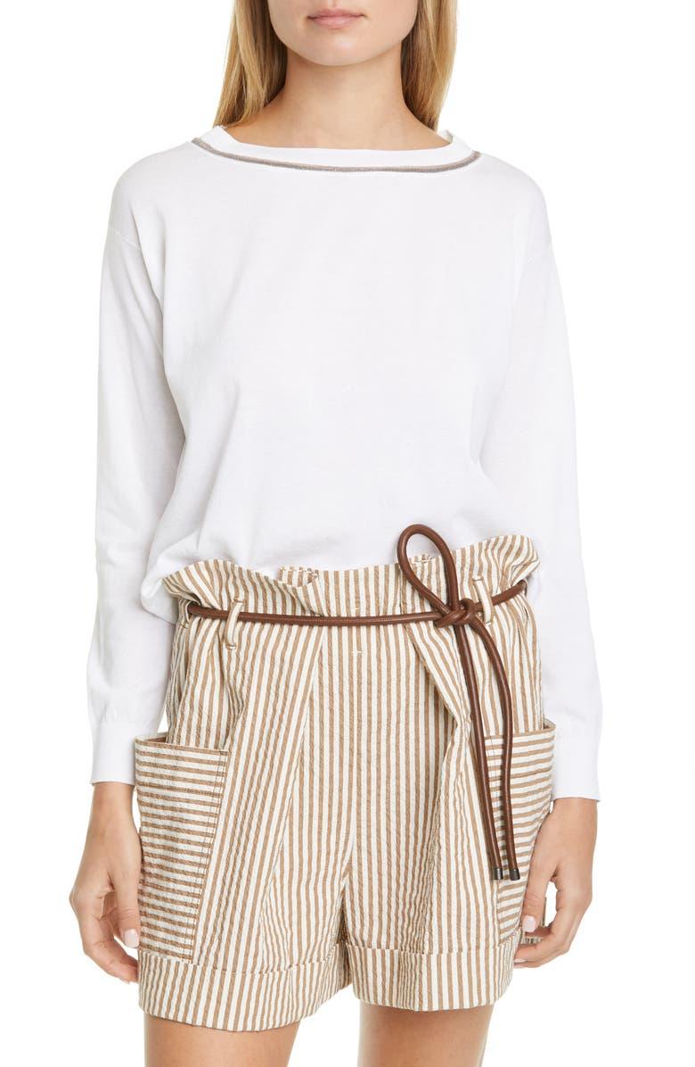 BRUNELLO CUCINELLI Monili Inset Cotton Sweater, Main, color, WHITE