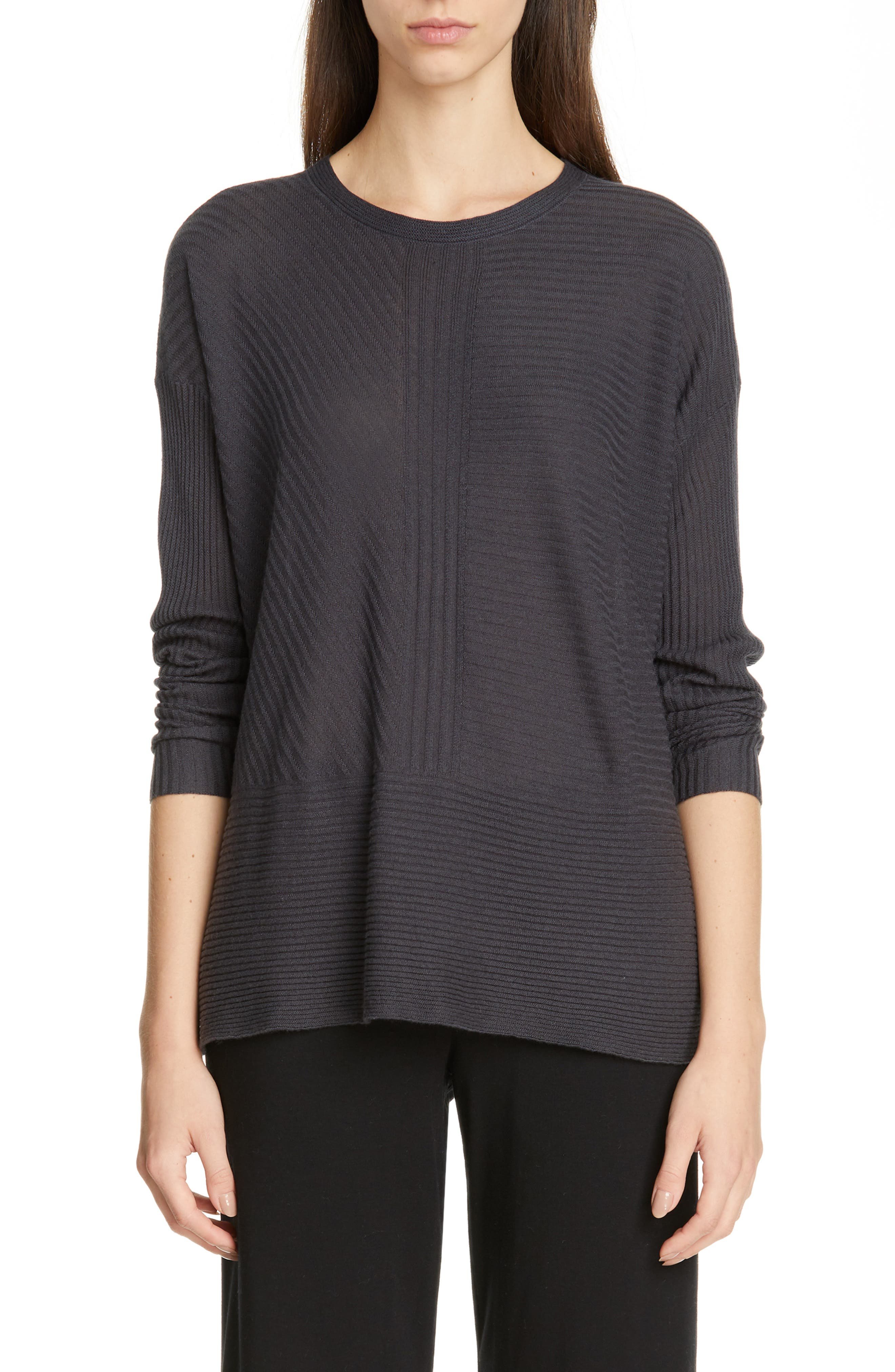 women's eileen fisher crewneck silk & cashmere sweater, size medium - grey