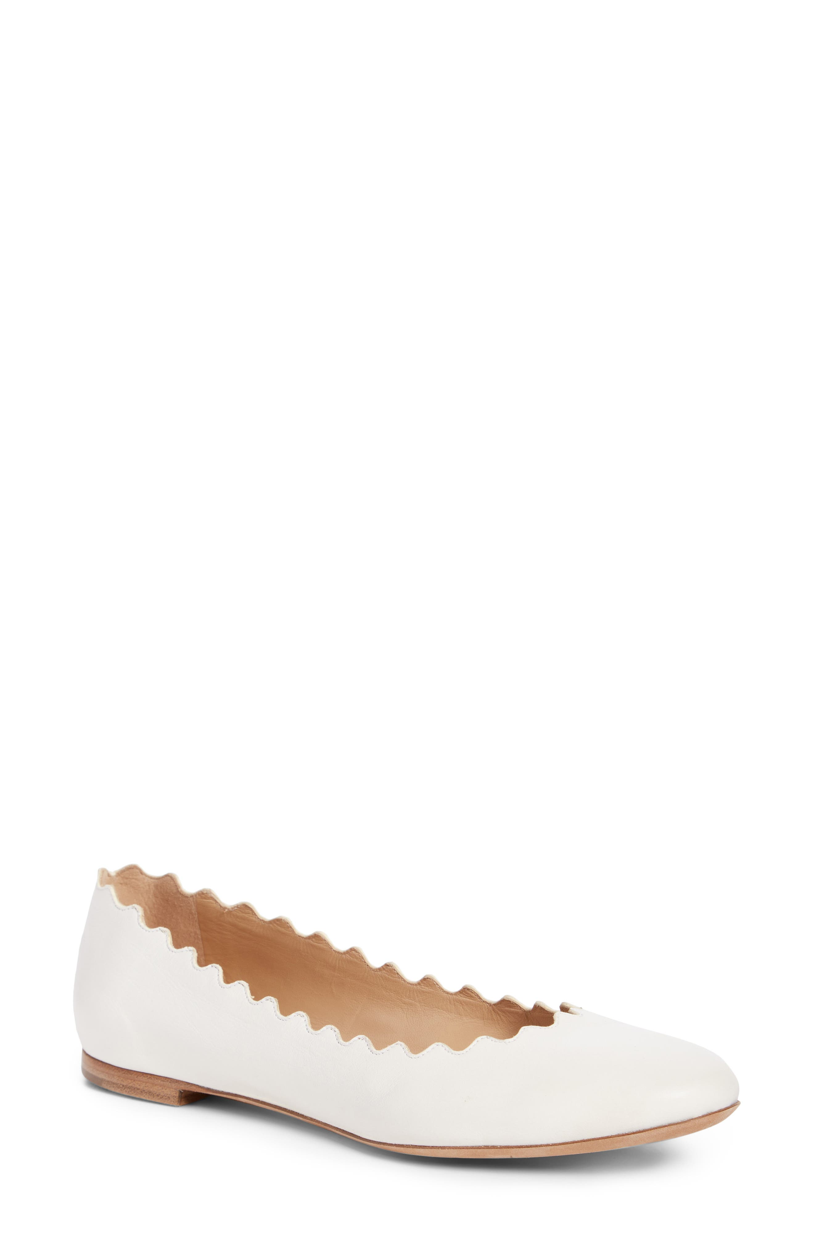 ,                             'Lauren' Scalloped Ballet Flat,                             Main thumbnail 1, color,                             CLOUDY WHITE