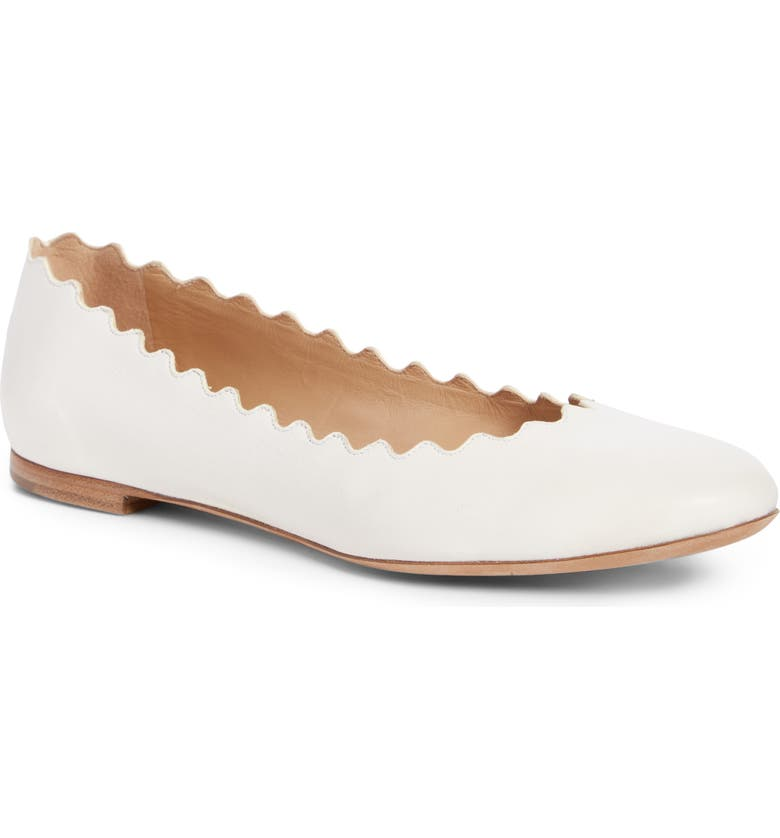 CHLOÉ 'Lauren' Scalloped Ballet Flat, Main, color, CLOUDY WHITE