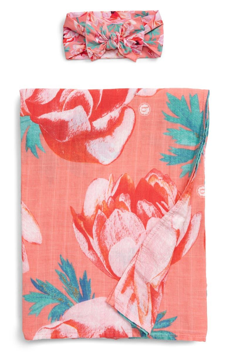 BABY BLING Dot Print Swaddling Blanket & Headband Set, Main, color, PINK CORAL