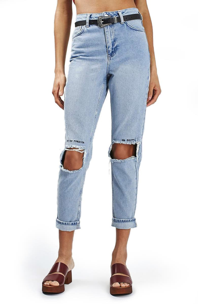 TOPSHOP Embroidered Ripped Mom Jeans, Main, color, 420