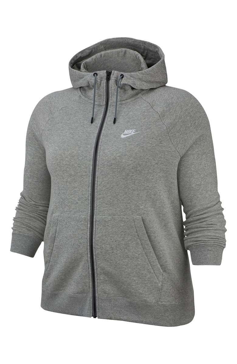 NIKE Sportswear Essential Full Zip Fleece Hoodie, Main, color, DK GREY HEATHER/ WHITE