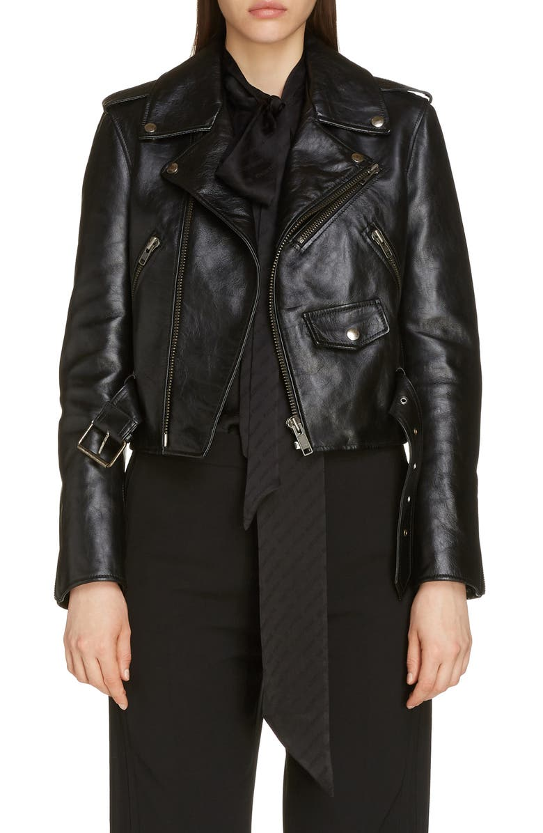 Balenciaga Lipstick Logo Leather Biker Jacket