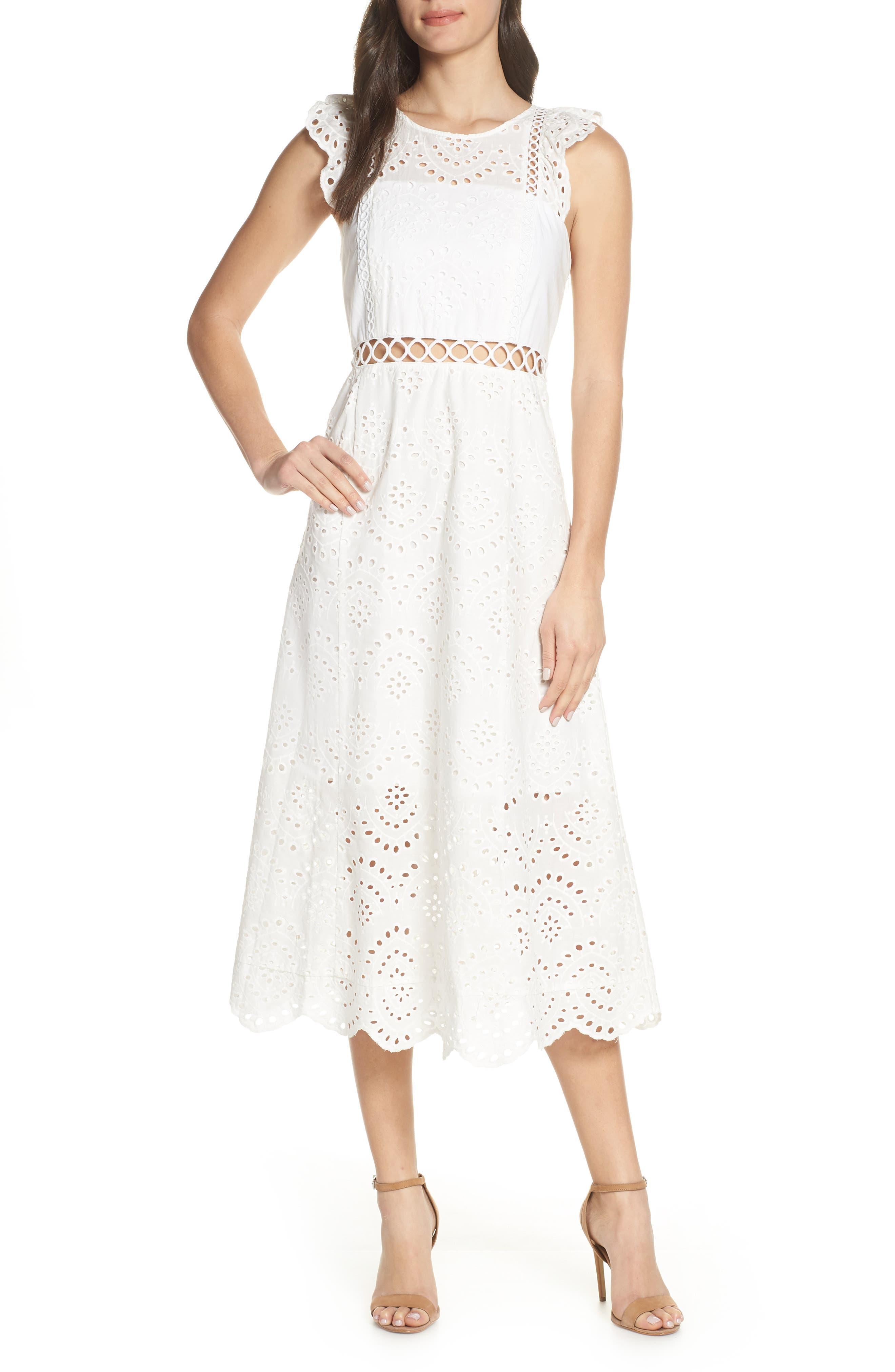 Eyelet Midi Dress, Main, color, IVORY