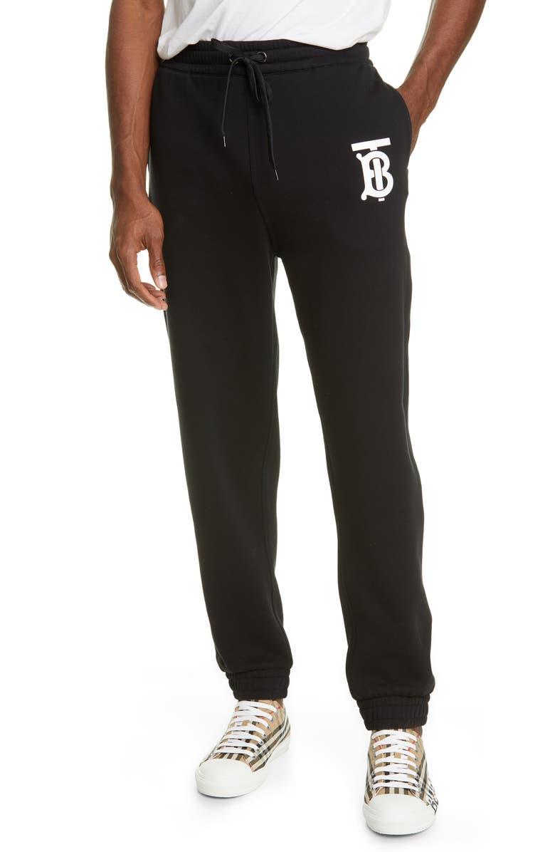 BURBERRY Gresham TB Sweatpants, Main, color, BLACK
