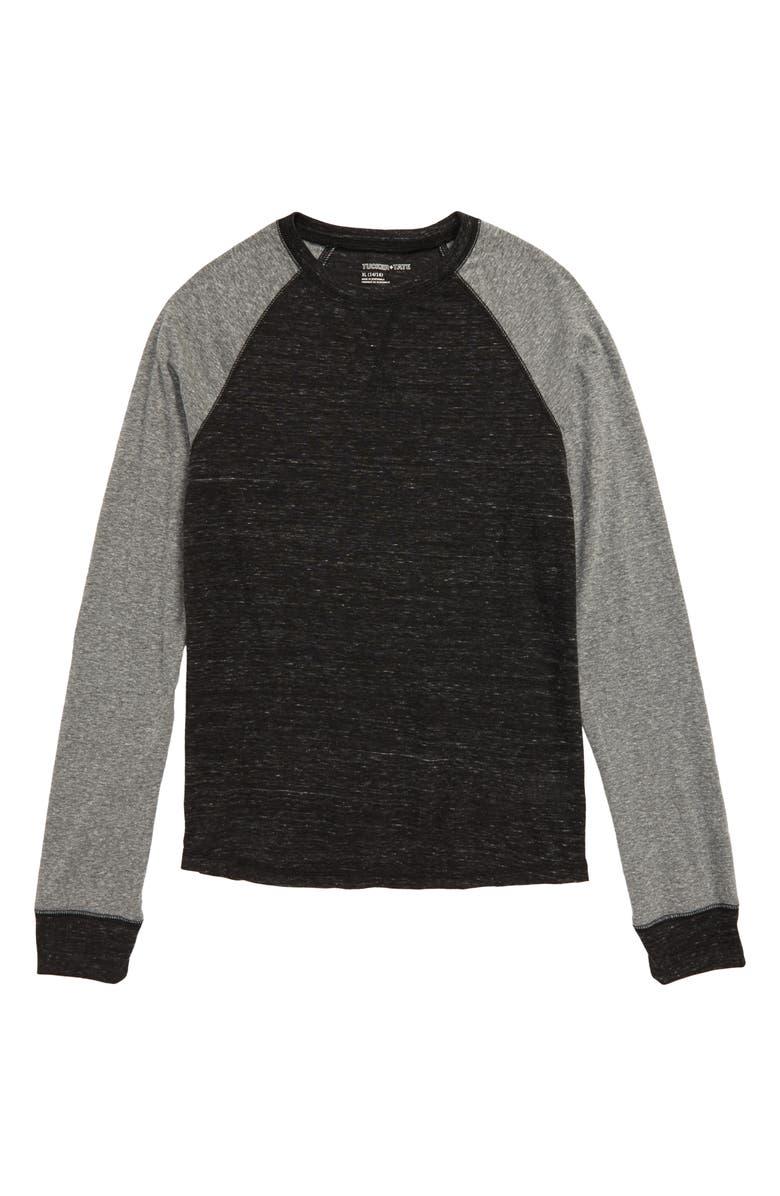 TUCKER + TATE Raglan Sleeve Shirt, Main, color, BLACK- GREY