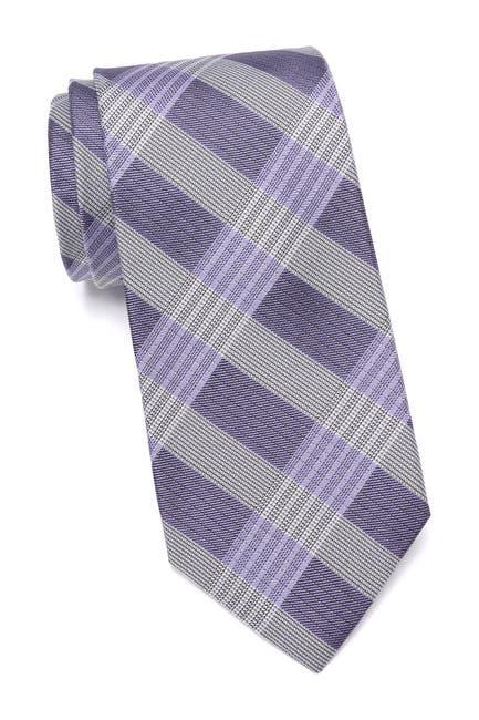 Image of Calvin Klein Thick Semi Contrast Plaid Silk Tie