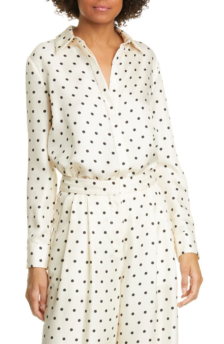 ADAM LIPPES Polka Dot Silk Twill Blouse, Main, color, 900