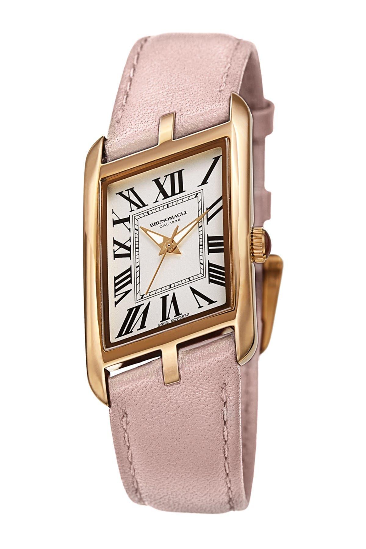 Image of Bruno Magli Women's Sofia 1421 Asymmetrical Case Leather Strap Watch, 24mm