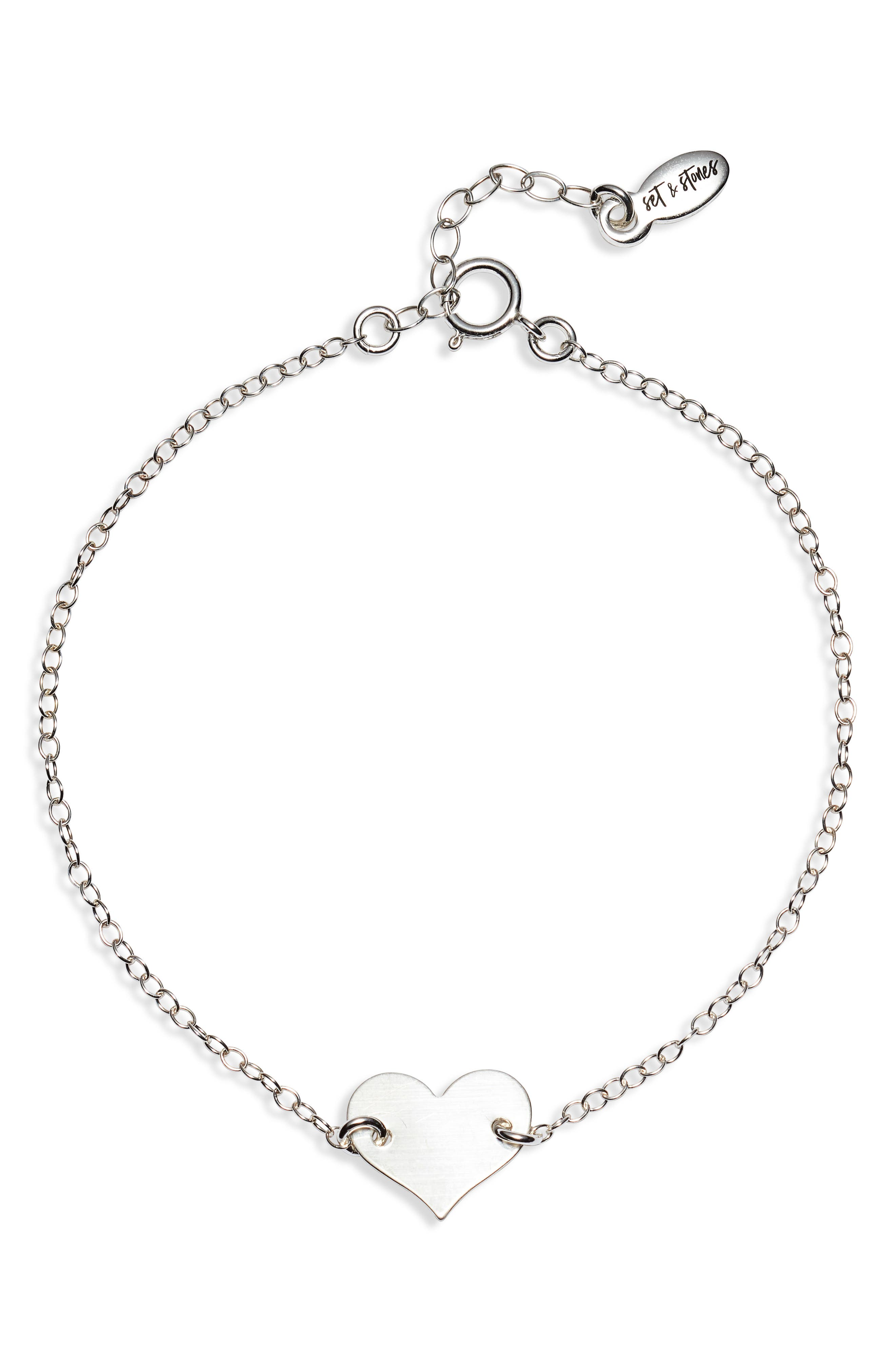 This dainty chain bracelet boasts a tiny heart, making it a cute and sentimental accessory that looks great alone but easily layers. Style Name: Set & Stones Jenny Heart Bracelet. Style Number: 6057561. Available in stores.