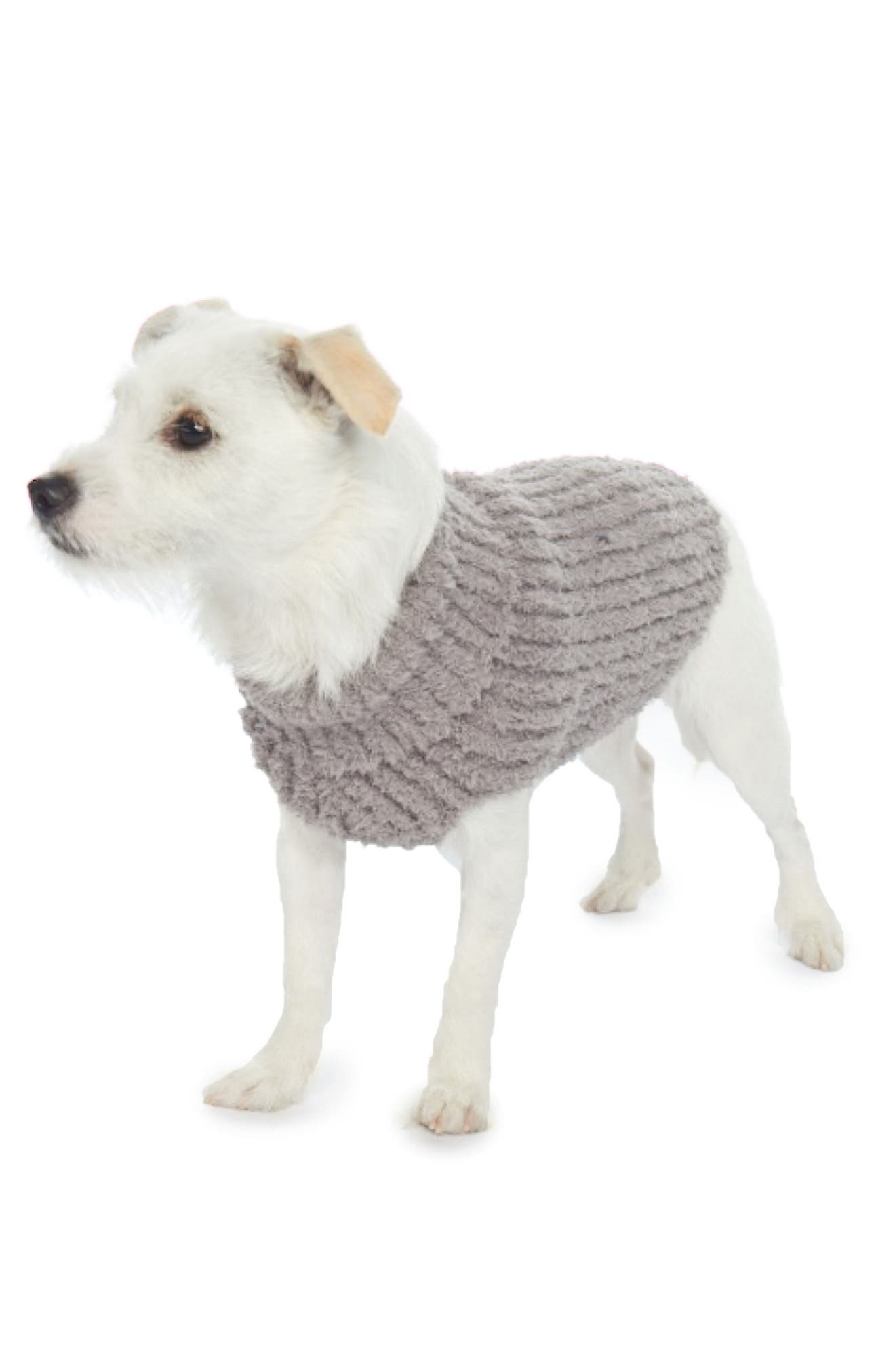 Barefoot Dreams Cozychic(TM) Ribbed Dog Sweater, Grey