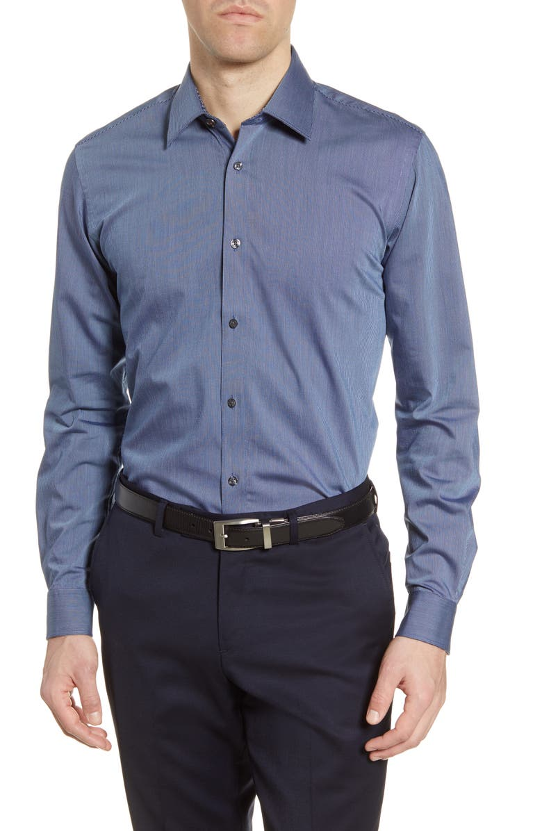 TED BAKER LONDON Sunray Trim Fit Stretch Dress Shirt, Main, color, MID-BLUE