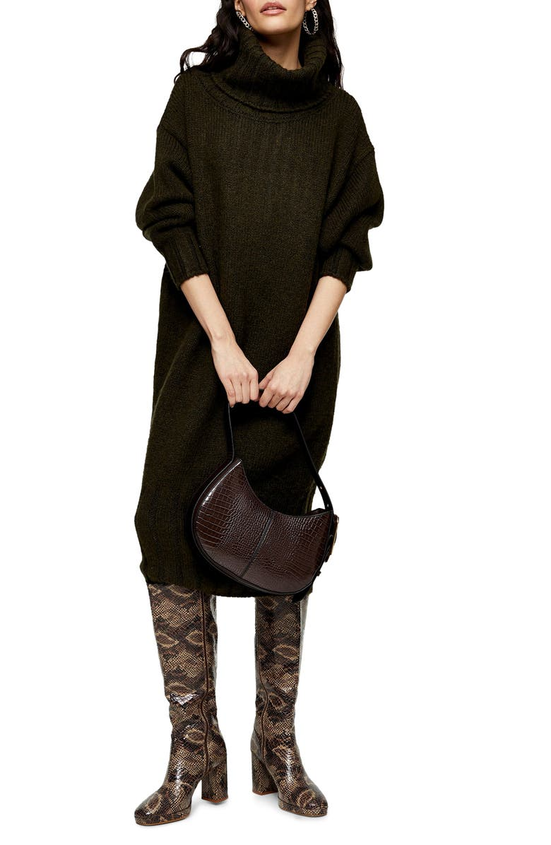 TOPSHOP Oversize Cocoon Sweater Dress, Main, color, OLIVE