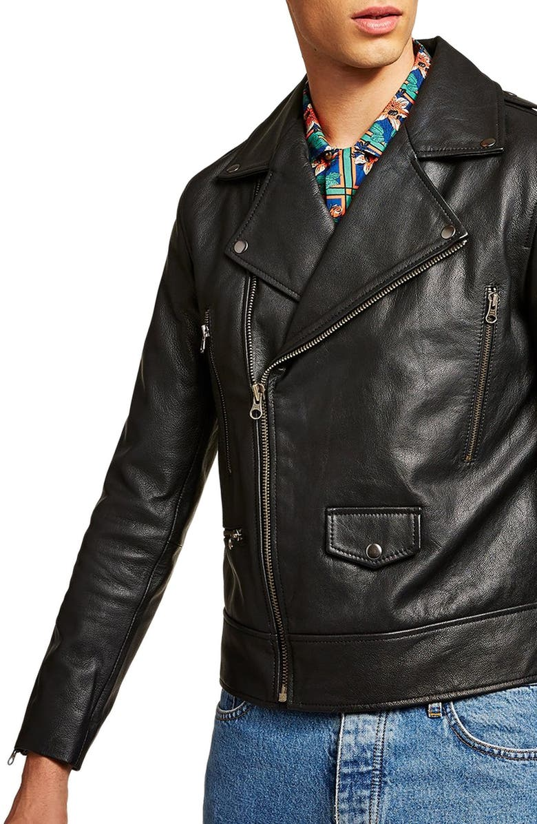 TOPMAN Classic Fit Leather Biker Jacket, Main, color, BLACK