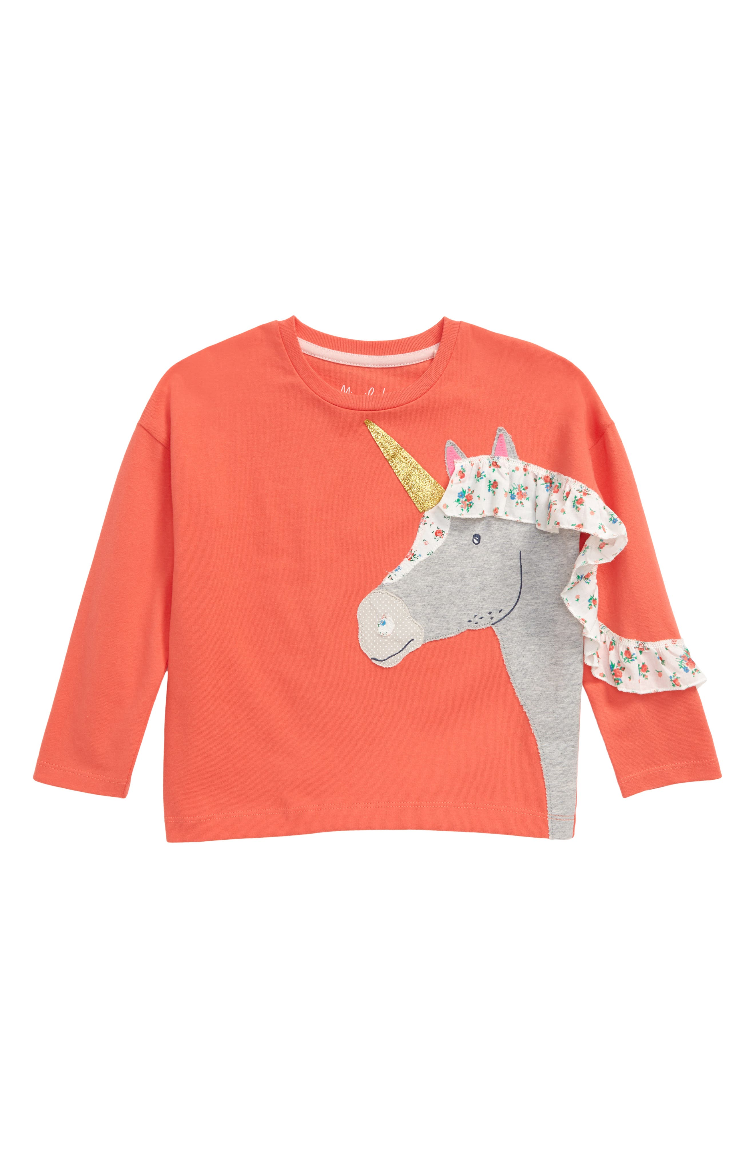 Calico flowers pattern the frilly mane running down the sleeve of a soft cotton T-shirt made with a smiling, glitter-horned unicorn on the front. Style Name: Mini Boden Frilly Unicorn Long Sleeve T-Shirt (Toddler, Little Girl & Big Girl). Style Number: 5989921. Available in stores.
