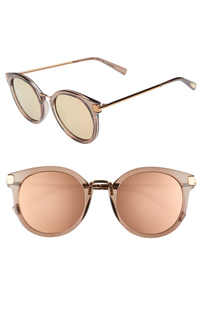 LE SPECS Last Dance 51mm Mirrored Round Sunglasses, Main, color, MOCHA