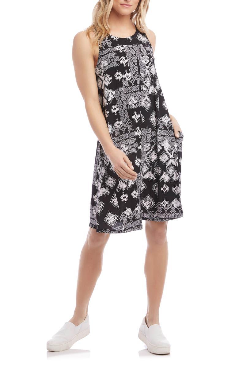 KAREN KANE Chloe Geo Print Dress, Main, color, BLACK WITH OFF WHITE
