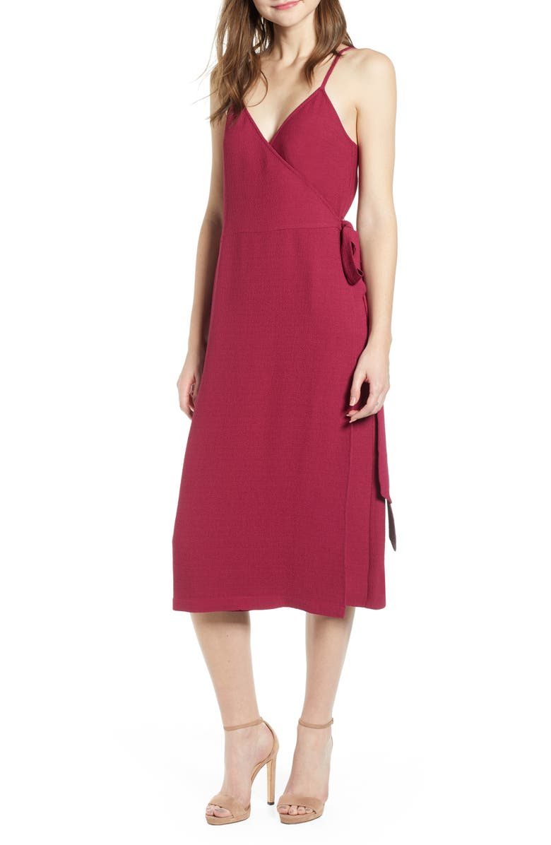 5debb4697d7 Crepe Wrap Midi Dress, Main, color, BURGUNDY PLUM