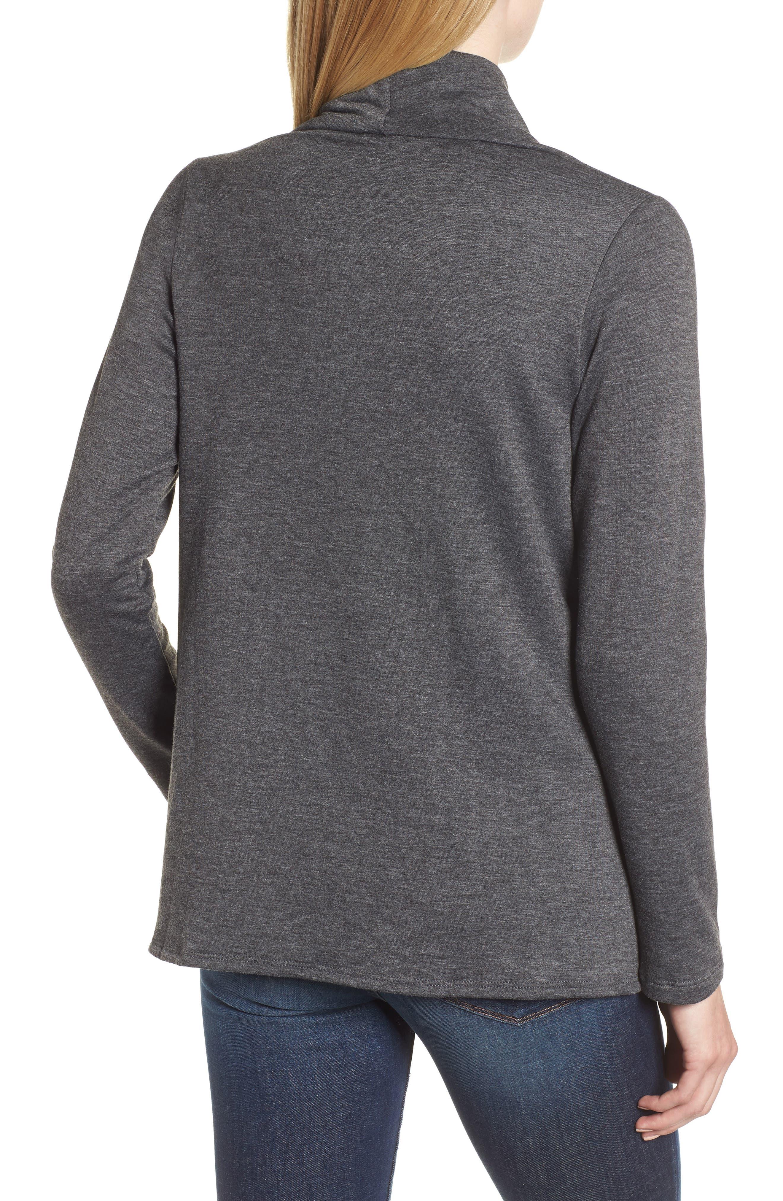 ,                             One-Button Fleece Wrap Cardigan,                             Alternate thumbnail 9, color,                             091