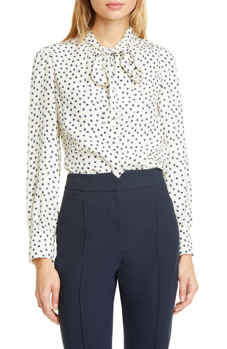 REBECCA TAYLOR Blurry Heart Top, Main, color, SNOW COMBO
