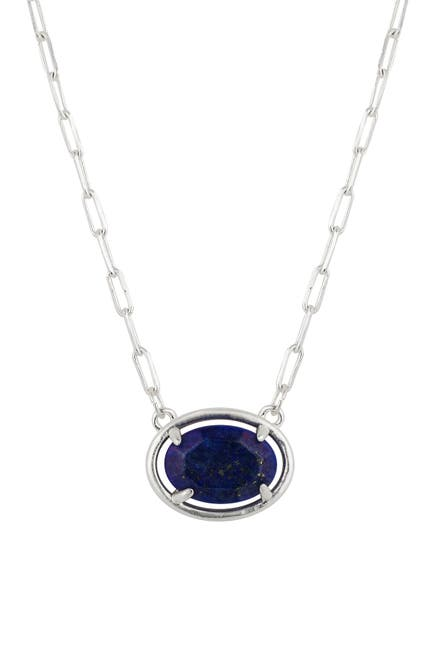 Image of LA Rocks Lapis Oval Stationed Stone Necklace with Paperlink Chain