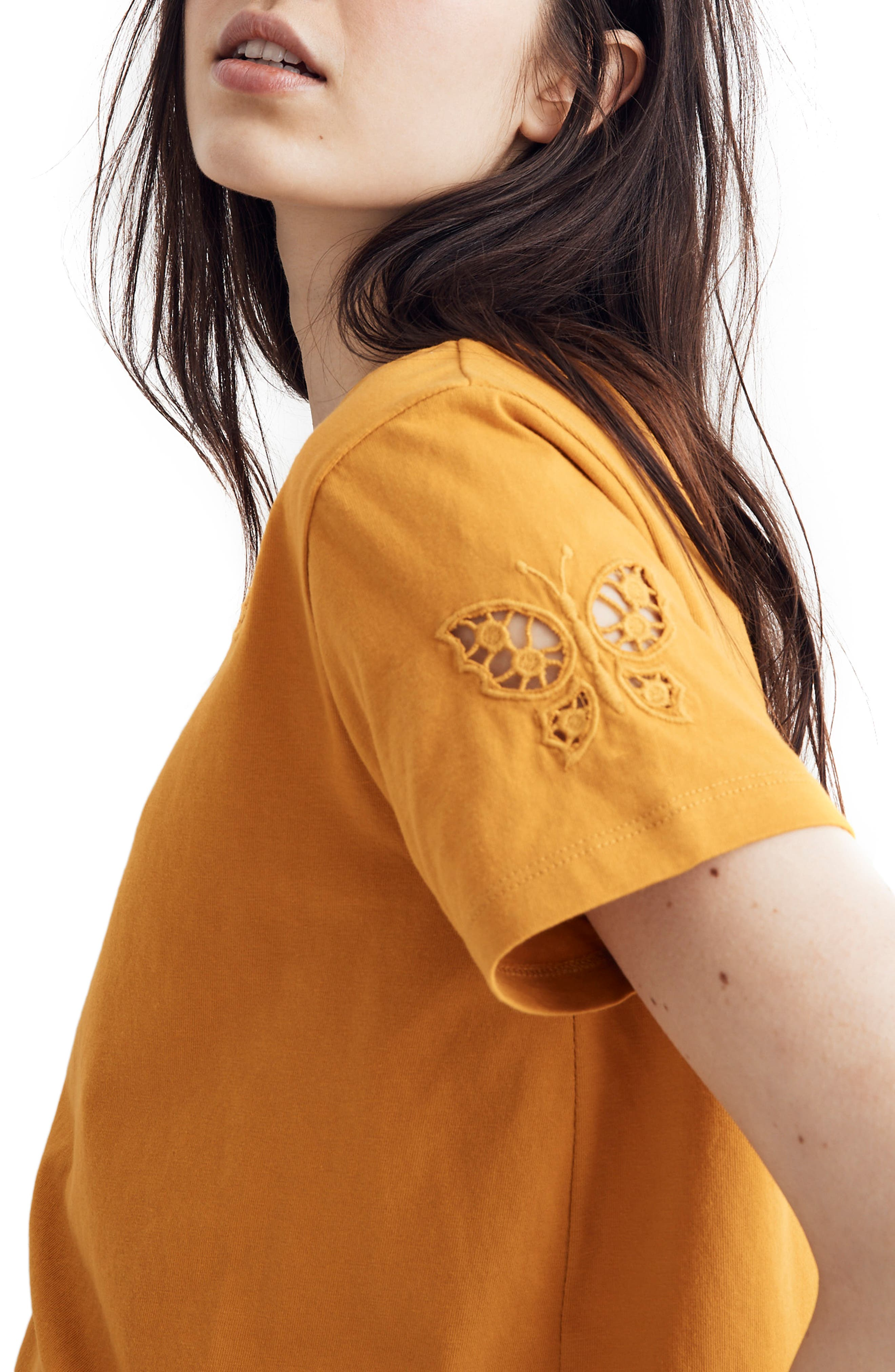 ,                             Butterfly Embroidered Eyelet Setlist Boxy Tee,                             Alternate thumbnail 5, color,                             700